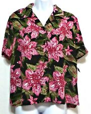 New with Tags! Napa Valley Petite Black and Pink Floral Rayon Shirt Sz Petite S