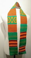 4.5x60 inch Authentic African Kente Cloth Stole Scarf made in Ghana, Green
