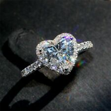 1.58 TCW Heart Shape Diamond Halo Engagement Ring In 14k White Gold Plated