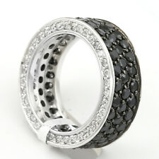 Black/White Cubic Zirconia Ring, Sterling Silver