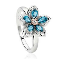 NEW Silver & 9ct gold Clogau Forget me not Topaz set ring 3SFMNR/M £149