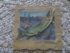 EVINRUDE OUTBOARD MOTORS,NORTHERN PIKE,YOUNG'S MARINA, N.BAY ONTARIO DIECUT SIGN
