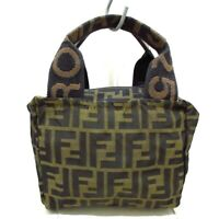 Auth FENDI Zucca Brown Dark Brown Jacquard Womens Handbag