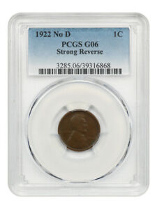 1922 no D Strong Reverse 1c PCGS Good-06 BN (Die Pair 2) Affordable Key Variety