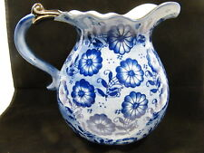 Vintage Pitcher Blue and White Floral w/ Silver Rim and Handle