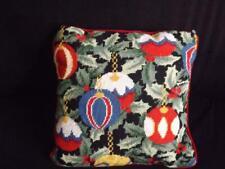 "Christmas Tree Balls Ornaments Needlepoint Decorative Pillow 13"" Square Wool"