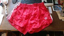 Adidas Vintage Glanz Shiny Nylon Satin Sprinter Shorts RED D7 with lining