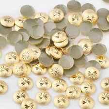 Gold Rivet Nail Art Studs 3D Decoration Metal Circle Spiral Round Square Wheel