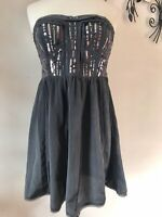 American Eagle Outfitters 10 Women's Dark Gray Sequin Strapless Dress Size 10