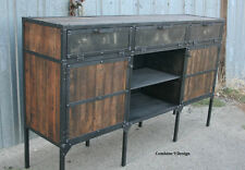 Buffet/Hutch. Vintage Industrial/Mid Century Modern. Steel and  Reclaimed Wood.