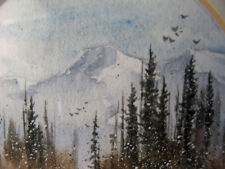 Original Watercolor Miniature Painting Mountain Listed CO Artist Cheryl Price