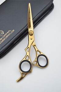"""6"""" Professional Hairdressing Scissors Barber Salon Haircutting GOLD LEFT-HANDED"""