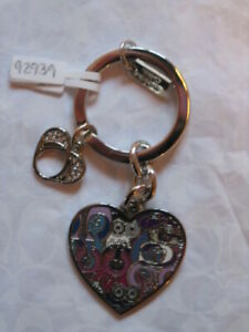 Coach colourful poppy fun colourful graffiti heart keyring