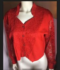 1990's Banjo Women's Western Cowgirl Top Size Large Red Lace Long Sleeve