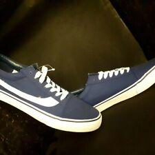 Henleys Mens Canvas Pumps Trainers Navy /White skateboarding sneakers UK 11