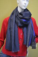GUCCI Mens Womens Italy Signature Cotton Striped Black Blue Scarf Wrap Dust Bag