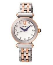 Seiko SRZ400P1 Damas Dos Tonos Tono Rosa Dorado Reloj de vestir Conjunto De Swarovski RRP £ 269