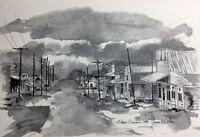 Missouri Olean 1973 Sketch Print Town Scene Black And White