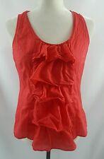 Anthropologie Fei Red Womens Sleeveless Ruffled Tank Top Shirt Size 4