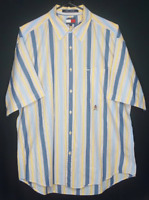 Tommy Hilfiger Mens Large Vintage Striped Short Sleeve Button Down Cotton Shirt
