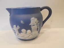 Blue Unmarked Jasperware Creamer with White Decoration Wedgwood? Jasper Ware