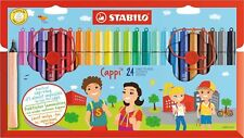STABILO Cappi Wallet of 24 - Felt-Tip Colouring Pens, with Cap Rings, Ideal Gift