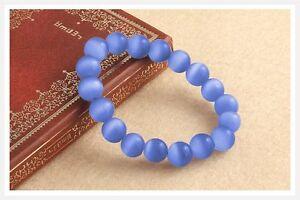 Beautiful 10mm Blue Mexican Opal Gemstone Bracelet Bangle 7.5''
