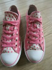 Converse All Stars PINK SPOT CANVAS Lace-up LOW Tops Size UK 4.5 DOUBLE TONGUE