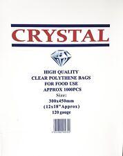 "2000x CRYSTAL CLEAR PLASTIC LDPE FOOD POLY BAGS 12""x18"" 120G (2x BOX)"