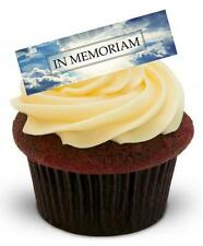 NOVELTY IN MEMORIAM Sunny Sky 12 STAND UP Edible Cake Toppers Funeral RIP Card