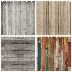 "71"" / 79"" Rustic Wooden Barn Wall Waterproof Fabric Shower Curtain High Quality"