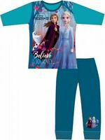 Disney Frozen II Elsa Anna Pyjamas Childrens Kids Girls Blue PJs Age 4-10 Years