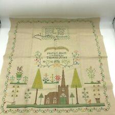 Vintage Embroidered Sampler Maria Hoch Thomas Jones 1879 Marriage 21 x 22.5