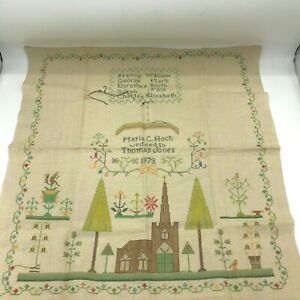 Vintage Embroidered Sampler Maria Hoch Thomas Jones 1879 Marriage 21 x 22.5