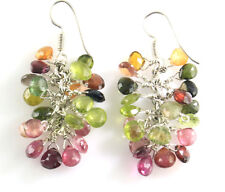 Beautiful Multi Color Tourmaline Almond Pear Shape Briolette Beads Earrings 925