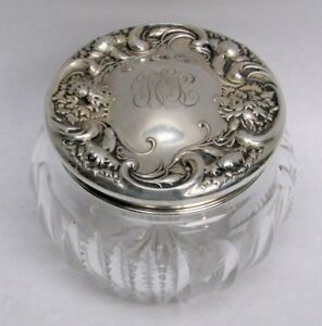ART NOUVEAU ERA WALLACE STERLING SILVER LID ON CRYSTAL POWDER JAR