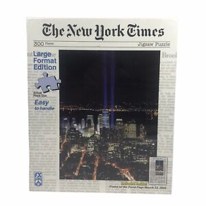THE NEW YORK TIMES Twin Beams of Light 300 PC Jigsaw Puzzle w/ Poster 18x24 NEW
