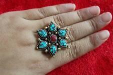 RG200 Vintage Tibetan Brass Turquoise Flower Women Ring Thumb Ring US SIZE10