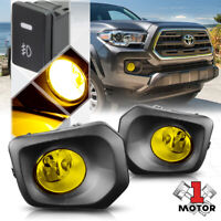 Yellow Lens Fog Light Bumper Lamp w/Switch+Harness+Bezel for 16-20 Toyota Tacoma