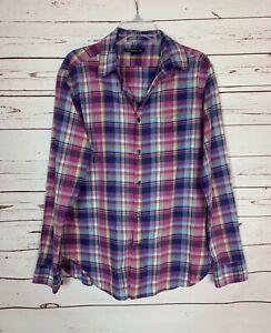 John Varvatos Men's Size M Medium Purple Plaid Long Sleeve Cotton Button Shirt