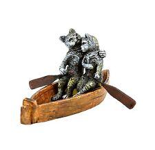Wiener bronce personaje-Loveboat-gatos pareja amorosa en paseo en barca-mano pintado