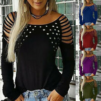 Women Fashion Boat Neck Sexy Hollow-Out Studded Long Sleeve T Shirts Casual Tops