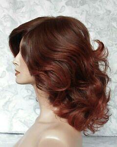 Medium Length Wavy Dark Brown Red Auburn High Heat Ok Full Synthetic Wig - G1218