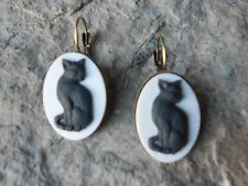 BLACK CAT CAMEO LEVER BACK FRENCH EARRINGS!! QUALITY!!! BRONZE, HALLOWEEN