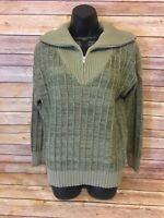 KENNINGTON 1/2 Zip Vintage Sweater Size Medium Mens Brown Rockability Striped