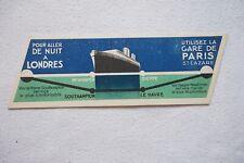 c1930s Original Southern Railway  Bookmark Newhaven Dieppe Southempton Le Harve