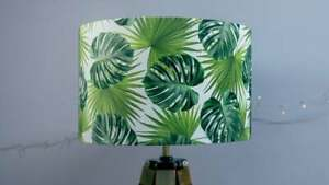 Tropical Leaves Lamp Shade - Handmade Botanical Green Exotic Palms Cheese Plant