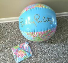 New Lilly Pulitzer Gwp Beach Ball Seaspray Blue Lovers Coral Inflatable Pink