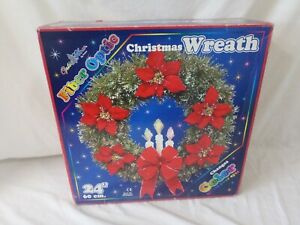 """Optic Glow by Puleo Fiber Optics 24-Inch 24"""" Changing Color Christmas Wreath"""