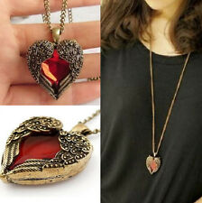 Women Fashion Heart Crystal Wing Pendant Long Sweater Chain Necklace Jewelry New